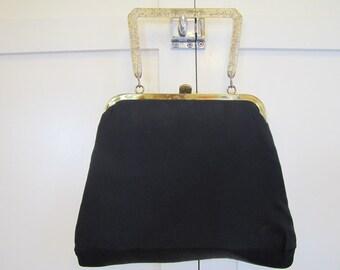1950's Lucite Handle Black Purse, Black, Purse, Handbag, Pocketbook, Lucite, Lucite Handle, 1950's, 1960's, Dressy