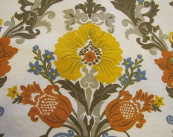 1960's Gabrielle Cie Fabric, Gabriell Cie, 1960's, 1970's, Floral, Flower, French Style, British, Curtain Fabric, Decorator Weight, Fall