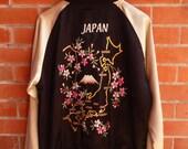 Rare Vintage JAPAN Cherry Blossom Maps SAKURA Sukajan Dragon Yokosuka Satin Embroidery Japanese Souvenir Puffy Puffer Bomber Jacket Size XL