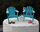 Beach Theme Wedding Cake Topper - BASIC SET with DRINKS - Classic Adirondack Chairs & Flip Flops - by Landscapes In Miniature