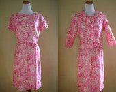 1960's Perfectly Pink Dress and Jacket Set - 60's Short Sleeve Dress - Medium