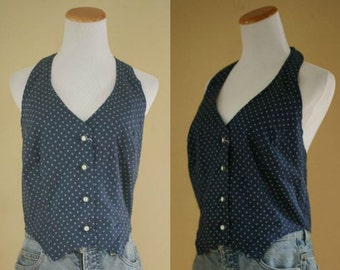 1970's Halter Top - 70's Navy and White Top - Medium / Large