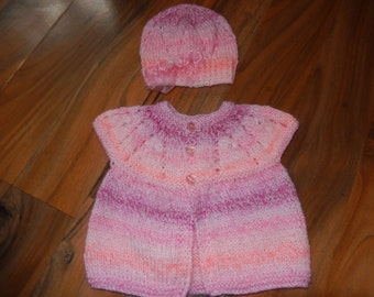 sweet little hand knitted baby short sleeve cardigan/sweater with matching hat shades of pink newborn