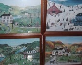 L Nelson Stocks 1979 Lang Folk Art prints marked Linda Nelson Stocks depicting scenes from Summer, winter, spring and fall, beautiful scenes