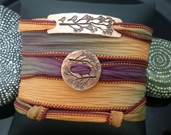 D2E  hand dyed silk yoga wrap bracelet hand stamped  tree and birds on hammered copper with magnetic clasp