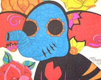 Day of the Dead Elephant, Elephant Drawing, 9x12 Inch Print, Sugar Skull Animal, Day of the Dead Art, Elephant Wall Decor, Colorful