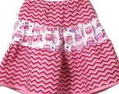Ruffle Skirt - Toddler Girl Chevron and Owl Skirt - Infant twirly skirt - Girls clothes - Baby clothes - Baby Boutique Modest skirt - Size 4