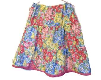 Back to School skirt - girls long Ruffle Skirt - Handmade tiered skirt - Girl's modest clothes -kids fashion - girls dress - size 8