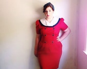 Vintage Sailor Collar Dress / Cherry Red Nautical Sheath Dress / Pinup 1940s Style / Rockabilly Dress / Pencil Skirt Dress / Large - 1980s