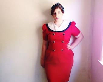 Vintage Sailor Collar Dress / Cherry Red Nautical Sheath Dress / Pinup 1940s Style / Rockabilly Dress / Pencil Skirt Dress / Large - 1980s