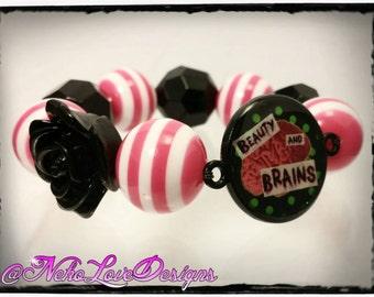 Beauty and Brains Chunky Bead Stretch Bracelet