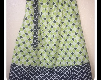 Black and Lime Damask Pillowcase Dress