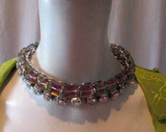 Vintage Crystal/ Aurora Borealis & Rhinestone Necklace Choker piece costume Goth retro