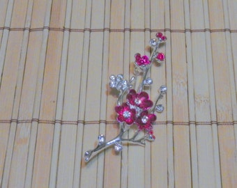 Pink Enamel Flower Magnetic Brooch Pageant Sash Pin