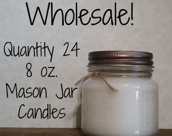 24 Pack Mason Jar Candles - Wholesale - 8 oz. Jars