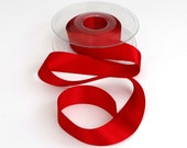 Red Double Satin Ribbon 25mm (1 inch) width, Berisfords shade no. 250