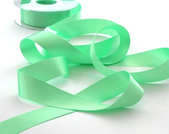 Mint Green Double Satin Ribbon 25mm (1 inch) width, Berisfords shade no. 56