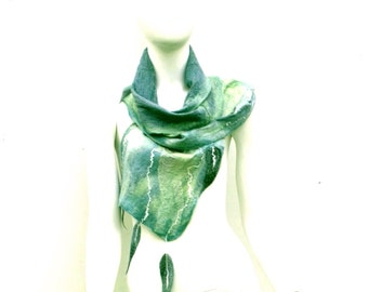 Nuno Felted Eucalyptus Leaves Wrap Scarf Grey Green