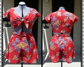Reserved for Sarah- 1940's Playsuit Reproduction- Tie Top and Beach Shorts