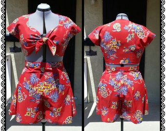 1940's Playsuit Reproduction- Tie Top and Beach Shorts- Custom made to measure - Rayon fabric of your choice- Sizes XS-XL