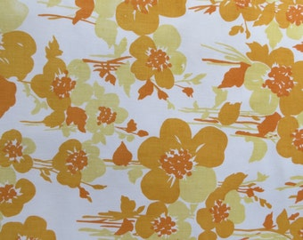 Half Yard of Vintage Sheet Fabric - Orange & Mustard Floral - 1/2 yd
