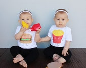 Twin Hamburger & French Fries Baby Bodysuit and Youth T Shirts