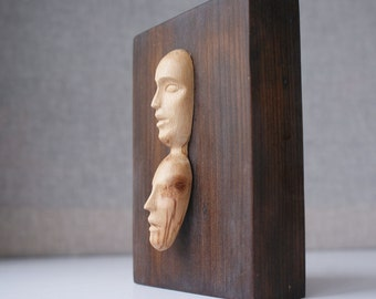 Two Faces - modern wood sculpture, unique hand carved wood statue