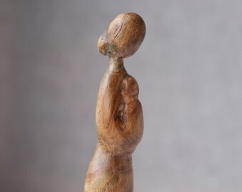 Motherhood - modern wood sculpture, unique hand carved wood statue