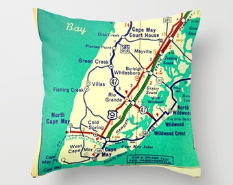 Cape May Pillow Cover, Cape May NJ Gifts, Mom Gifts from Daughter, from Son, New Jersey Home, Wife to Husband Gift, Housewarming gift