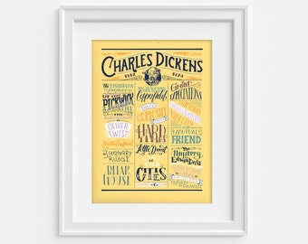 Charles Dickens bibliography print, literary poster in handlettering (12,60 x 18,10)