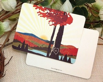 Fall Mountain with Trees and Hills Flat Thank You Notecard: Get Started Deposit