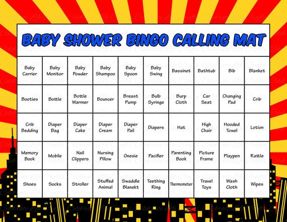 30 Superhero Baby Shower Bingo Cards Printable Baby Shower