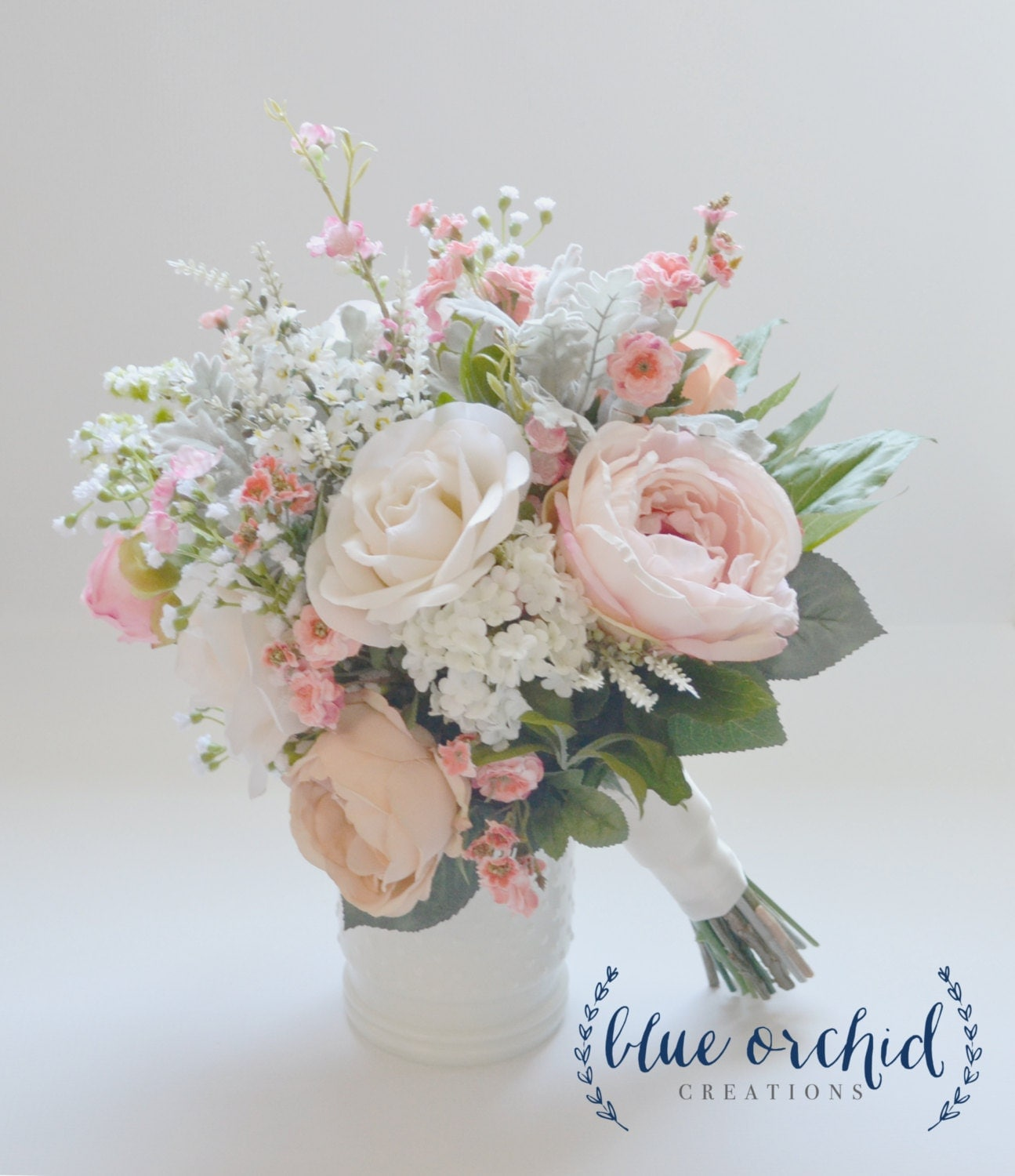 artificial wedding bouquet blush and ivory silk wedding bouquet with wildflowers garden 1381