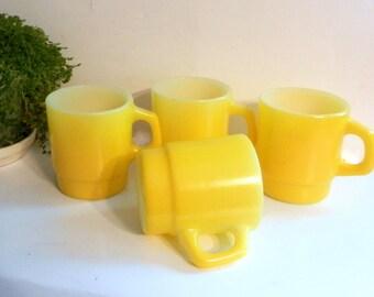 Vintage Anchor Hocking Stacking Mug Set of 4 in Yellow