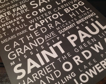 St. Paul Minnesota Subway Style Original Design Typography Unframed 11x14 Art Print