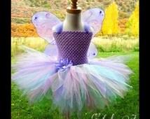 Wisteria Pixie Tutu Costume Dress SET - 6 12 18 24 2T 3T 4 5 6 7 8 Girls Frozen Pink Glitter Peter Pan Princess Butterfly Lavender Disney