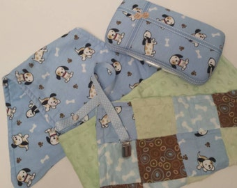 CLEARANCE! Reg 35.00 Ready to Ship Blue Puppy Baby Gift Set