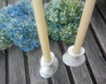 Painted silver candle sticks, antique white wedding decor, french cottage chic display, vintage home decor for photo shoots, holiday decor