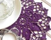 Crochet doily small purple cotton lace doily crochet doilies violet