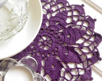 Crochet doily small purple cotton lace doily crochet doilies violet 110