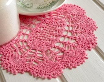 Oval crochet doily Pink lace doily Linen crochet doilies Lace doilies Oval lace doily