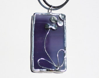 Handcrafted Necklace of Stained Glass Purple Pendant with Orchid Design Original Jewelry Made in the USA