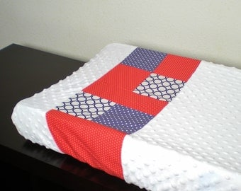 Custom Patchwork and Minky Changing Pad Cover