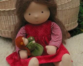 "Waldorf doll 16"" girl, Brown straight hair, Daphne"