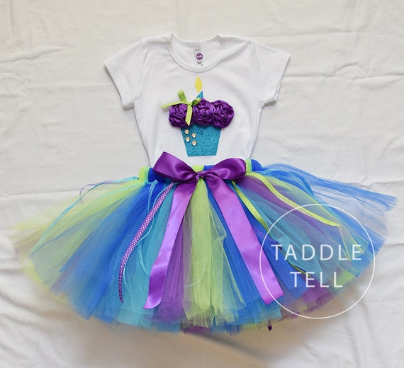 OCEAN BREEZE Birthday Girl Set - 3D Cupcake Onesie and Tutu Skirt - 1st 2nd 3rd 4th 5th Birthday