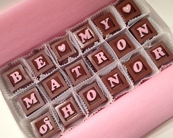 Will You Be My Matron of Honor Chocolate Gift - Matron of Honor chocolate question - Unique Gift to Ask Your