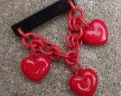 1940s plastic hearts brooch