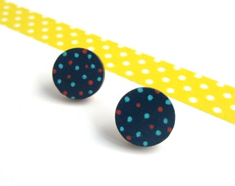 Polka Dot Circle Earrings - Hand Painted - Wooden Jewellery - Gifts for Her - Neon - Navy Blue - Laser Cut