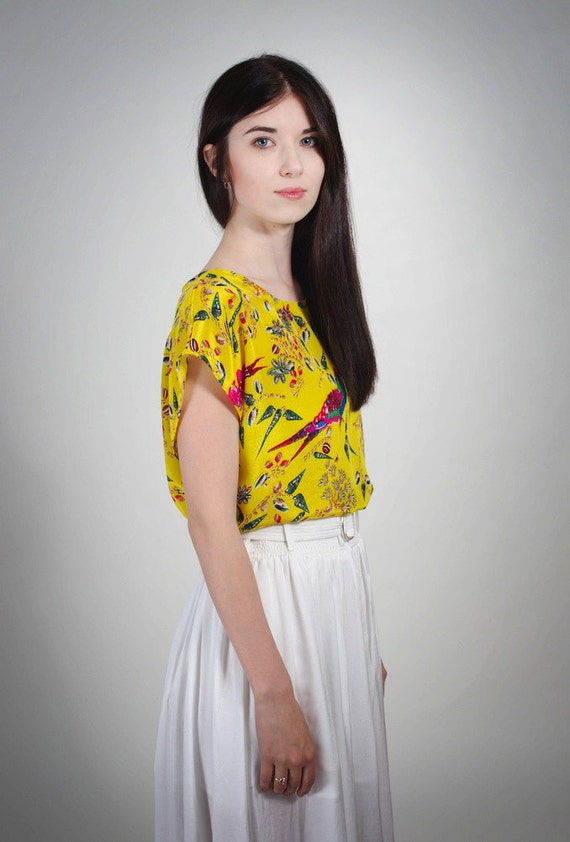 Yellow Parrot Top in Silk