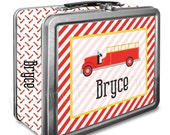 Vintage Firetruck Classic Tin Lunch Box with or without Side Wrap | Back To School | Personalized | Image on Both Sides | Keepsake Box